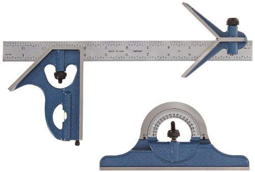 Fowler 52-385-012 Steel Combination Square Set Includes with Baked Blue Enamel Finish, 4R Graduation Interval, 12