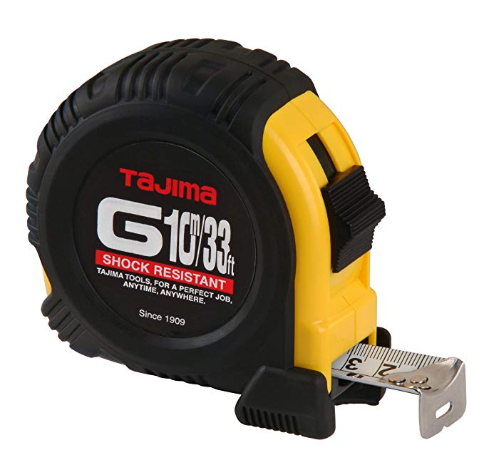 Tajima G-33/10MBW 33-Feet or 10-Meter by 1-Inch Steel Blade Tape Measure
