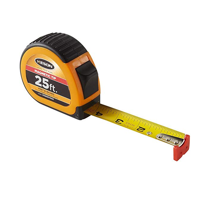 Keson PG1825VMAG Short Tape Measure with Nylon Coated Steel Blade and Magnetic Hook End (Graduations: ft, in, 1/8), 1-Inch by 25-Foot