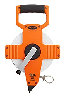 Keson NR10100H Nylon Coated Steel Blade Measuring Tape with Zero Point at Tape End and Hook End (Graduations: 1/10, 1/100), 100-Foot
