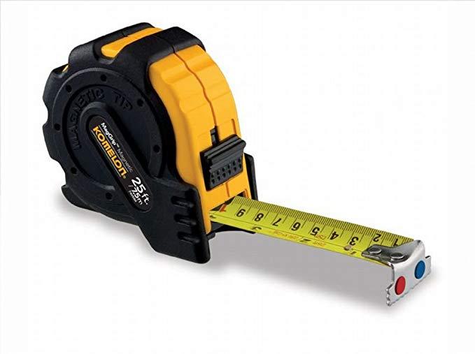 Komelon 7425IM 4 Pack 25ft./7.5m x 1in. MagGrip Tape Measure, Black