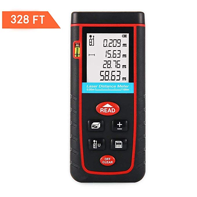 TopOne Digital Laser Measuring Tape Laser Measurement Tool with LCD Backlight Display for Distance and Angle Measurement,Area and Volume Calculation (Accuracy 0.2cm) (S-328Ft)