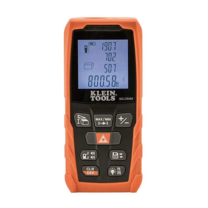 Digital Laser Distance Measure 65-Foot, Backlit LCD, Distance, Area, Volume, Pythagorean Klein Tools 93LDM65