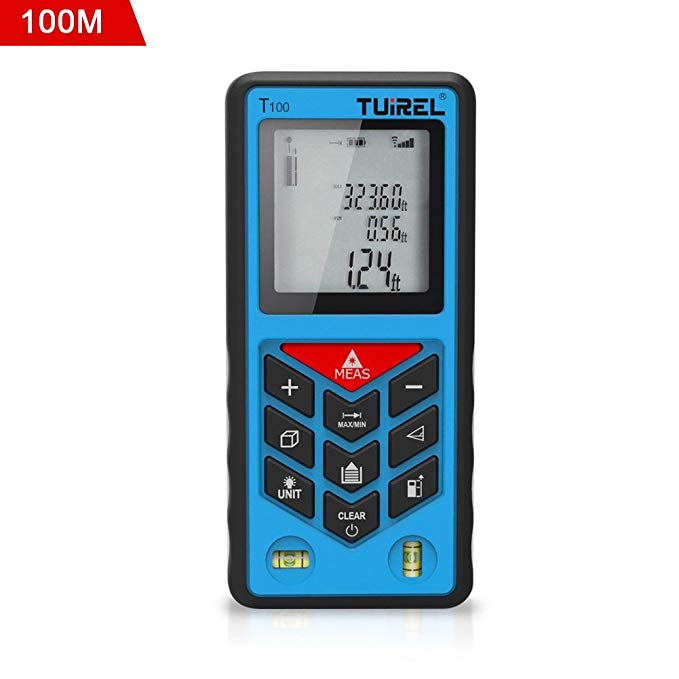 Laser Distance Measurer,Laser Tape Measure 100M/328ft with 2 Bubble Levels Pythagorean Mode and Area, Volume Calculation and Range Finder