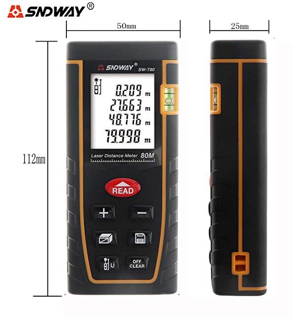 SNDWAY SW-T80 80M 262FT Laser Distance Meter Digital Diastmeter Laser Range Finder Meter Area Volume Measure Tool with LCD 4 Line Display