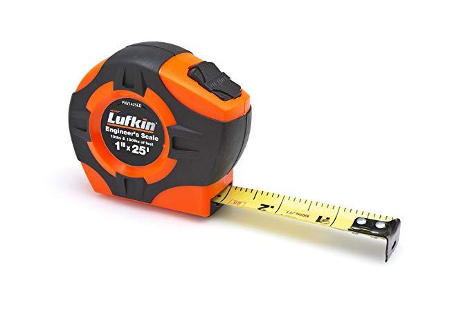 Lufkin PHV1425ED Power Return Tape, 1-Inch by 25-Feet 10ths/100ths, Hi-Viz Orange