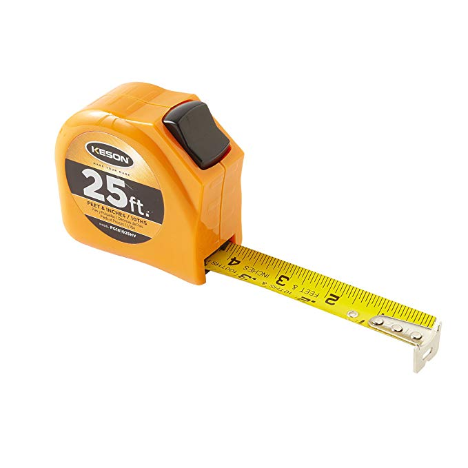 Keson PGT181025V Short Tape Measure with Nylon Coated Steel Blade and Toggle Lock (Graduations: 1/10, 1/100 & ft, in, 1/8), 1-Inch by 25-Foot
