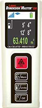 Calculated Industries 3356 Laser Dimension Master 130 Compact Digital Distance Measurer with 130-foot Range and Bright Color Display for Real Estate and Interior Design Pros